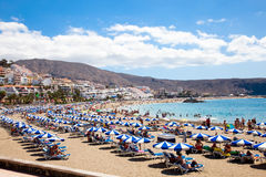 Los Cristianos beach. Tenerife, Canaries island. Beach Playa los Cristianos,  Tenerife,Spain. More than 5 million tourists from UK visit Tenerife every year Royalty Free Stock Photos