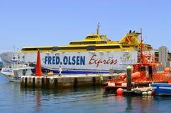Los Cristianos marina Fred Olsen ferry in Los Crristianos marina Royalty Free Stock Photos