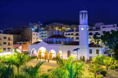 Los Cristianos night church in Tenerife Royalty Free Stock Images