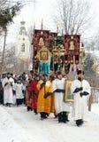 Los cristianos ortodoxos participan en un bautizo Fotografía de archivo