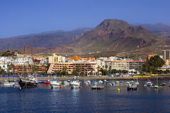 Los Cristianos in Tenerife. Cityscape of Los Cristianos resort town in Tenerife, Canary Islands, Spain Royalty Free Stock Photos