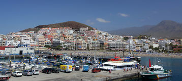 Los Cristianos in Tenerife. Port and panramic view of Los Cristianos in Tenerife, Canary Islands, Spain Stock Images