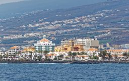 View from sea of Los Cristianos bay, Tenerife, Spain. Los Cristianos is a town on the southwest coast of Tenerife, the largest of Spain's Canary Islands. A Royalty Free Stock Images