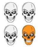 Los cráneos del vintage fijaron para los emblemas, logotipo, estilo del tatuaje Imágenes de archivo libres de regalías