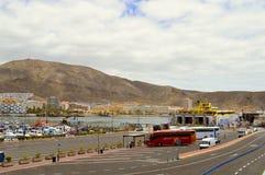 Los Crristianos harbour in Tenerife stock photo