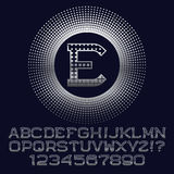Los cuadrados modelaron las letras y los números de plata con el monograma de E Foto de archivo libre de regalías