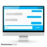 Los cuadros de texto de la mensajería de la pantalla de ordenador vacian bubles Foto de archivo