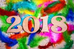 Los cuadros 2018 plumas texturizan Año Nuevo del fondo de la naturaleza Imagen de archivo