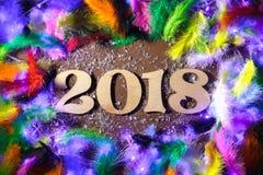 Los cuadros 2018 plumas texturizan Año Nuevo del fondo de la naturaleza Imagen de archivo libre de regalías
