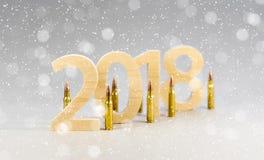Los cuadros 2018 se cortan de la madera sólida con las balas para un rifle n Imágenes de archivo libres de regalías