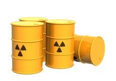 Los cuatro tanques amarillos con un símbolo radiactivo ilustración del vector