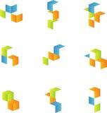 los cubos 3d fijaron 2 Imagen de archivo
