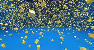 Los cubos amarillos 3d en fondo azul rinden Fotografía de archivo