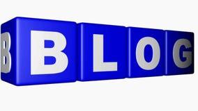Los cubos azules con escriben el movimiento en un fondo blanco - vídeo del BLOG de la representación 3D