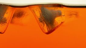 Los cubos de hielo derriten en ascendente cercano del té o del whisky metrajes