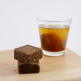 Los cubos del té del jengibre del azúcar marrón de Taiwán fotos de archivo libres de regalías