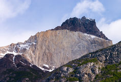 Los Cuernos detail in Torres del Paine. In Chile stock photo
