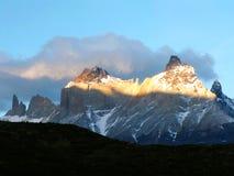 Los Cuernos (Horns). Los Cuernos massif in Torres del Paine National Park, Chile stock images