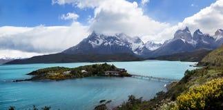 Los Cuernos, parco nazionale di Las Torres, Cile Fotografie Stock
