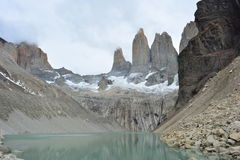 Los Cuernos peaks in Torres del Paine National Park, Chile. The Torres del Paine is the most visited natural park in Chile, and it is the paradise for those who royalty free stock photo