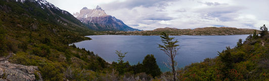 Los cuernos in Torres del paine. Along the W Trecking road in late november stock photo