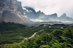 Los Cuernos in Torres del Paine national park in Chile. Patagonia, during a rainy day royalty free stock photos