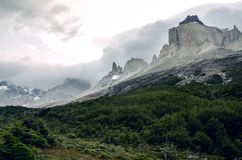 Los Cuernos in Torres del Paine national park in Chile. Patagonia during a rainy day royalty free stock images