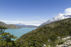 Los Cuernos, Torres del Paine, Patagonia, Chile. Alpine lake at foot of Los Cuernos in Torres del Paine National Park, Patagonia, Chile stock photography