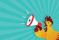 Los cuervos del gallo con un megáfono Fotos de archivo