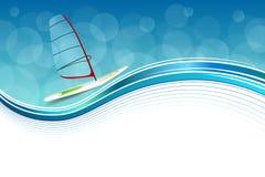 Los días de fiesta abstractos del deporte del mar del fondo diseñan el ejemplo azul del marco del windsurf verde rojo ilustración del vector