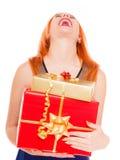 Los días de fiesta aman el concepto de la felicidad - muchacha con las cajas de regalo Fotos de archivo