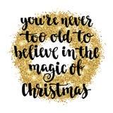 Los días de fiesta del saludo de la Navidad y de la Feliz Año Nuevo dan la tarjeta de letras Imágenes de archivo libres de regalías
