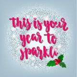 Los días de fiesta del saludo de la Navidad y de la Feliz Año Nuevo dan la tarjeta de letras Fotografía de archivo
