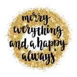 Los días de fiesta del saludo de la Navidad y de la Feliz Año Nuevo dan la tarjeta de letras Foto de archivo libre de regalías