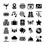 Los días de fiesta y los iconos sólidos de las vacaciones embalan libre illustration