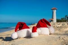 Los días de fiesta y la Navidad del Año Nuevo vacation en el mar Imagen de archivo