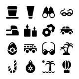 Los días de fiesta y las vacaciones llenaron iconos embalan ilustración del vector