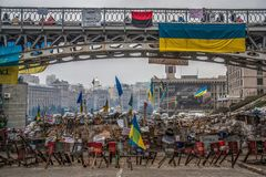 Los días de la protesta de Euromaidan, Kiev imagenes de archivo