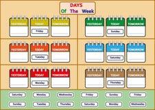 los días de las hojas de trabajo de la semana, rastro y escriben los días de la semana ilustración del vector