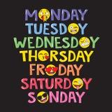 Los días del texto de la semana con Emoji hacen frente ilustración del vector