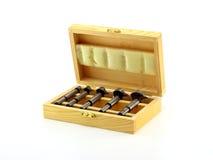 Los dígitos binarios de taladro de madera fijaron Imágenes de archivo libres de regalías
