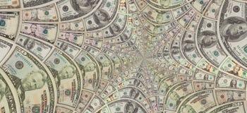 Los dólares de EE. UU. del dinero protagonizan el espiral ciento, cincuenta, diez dólares de la forma de billetes de banco Dólare Foto de archivo libre de regalías