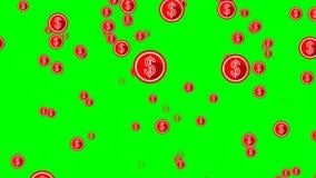 Los dólares del vuelo, círculo rojo forman con símbolo americano del dólar en la pantalla verde stock de ilustración