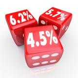 Los dados de Rate Percent Numbers Three Red del interés financian de nuevo la deuda Cred Imagen de archivo libre de regalías