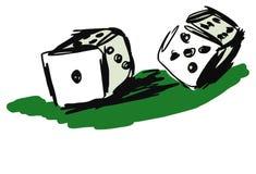 Los dados del casino doodle la ilustración. Foto de archivo