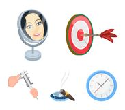 Los dardos del juego, la reflexión en el espejo y el otro icono del web en estilo de la historieta Cigarro en el cenicero, calibr ilustración del vector
