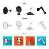 Los dardos del juego, la reflexión en el espejo y el otro icono del web en estilo de la historieta Cigarro, iconos de los calibra ilustración del vector