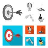 Los dardos del juego, la reflexión y el otro icono del web en estilo monocromático, plano Cigarro, iconos de los calibradores en  ilustración del vector