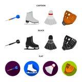 Los dardos lanzan, los patines blancos del patín, volante del bádminton, guante para el juego Iconos determinados de la colección stock de ilustración