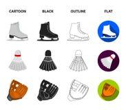 Los dardos lanzan, los patines blancos del patín, volante del bádminton, guante para el juego Iconos determinados de la colección ilustración del vector